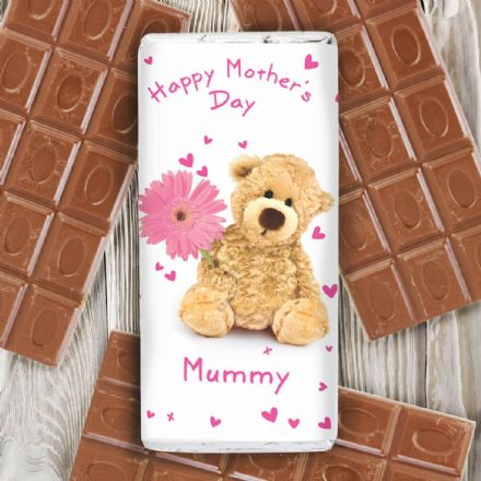 Personalised Teddy Flower Chocolate Bar